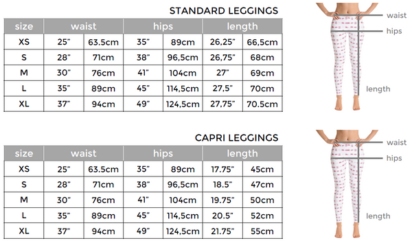 ICONSPEAK Leggings sizing chart