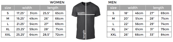 ICONSPEAK t-shirt sizing chart