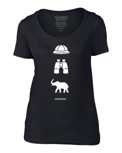 ICONSPEAK Safari Story Women's T-Shirt - ICONSPEAK Travel shirt, traveller t-shirt, backpacker and backpacking shirt, icon language shirt