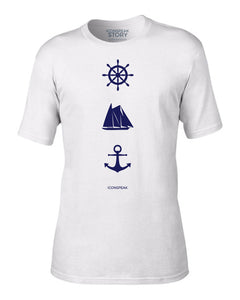 ICONSPEAK Sailor Story Men's Shirt - ICONSPEAK Travel shirt, traveller t-shirt, backpacker and backpacking shirt, icon language shirt