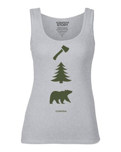ICONSPEAK Lumberjack Story Women's Tanktop - ICONSPEAK Travel shirt, traveller t-shirt, backpacker and backpacking shirt, icon language shirt