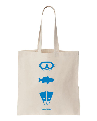 ICONSPEAK Diver Story Tote Bag - ICONSPEAK Travel shirt, traveller t-shirt, backpacker and backpacking shirt, icon language shirt