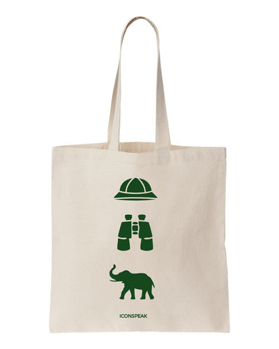 ICONSPEAK Safari Story Tote Bag - ICONSPEAK Travel shirt, traveller t-shirt, backpacker and backpacking shirt, icon language shirt