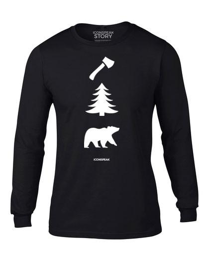 ICONSPEAK Lumberjack Story Longsleeve - ICONSPEAK Travel shirt, traveller t-shirt, backpacker and backpacking shirt, icon language shirt