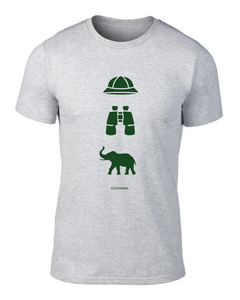 ICONSPEAK Safari Story Men's T-Shirt - ICONSPEAK Travel shirt, traveller t-shirt, backpacker and backpacking shirt, icon language shirt