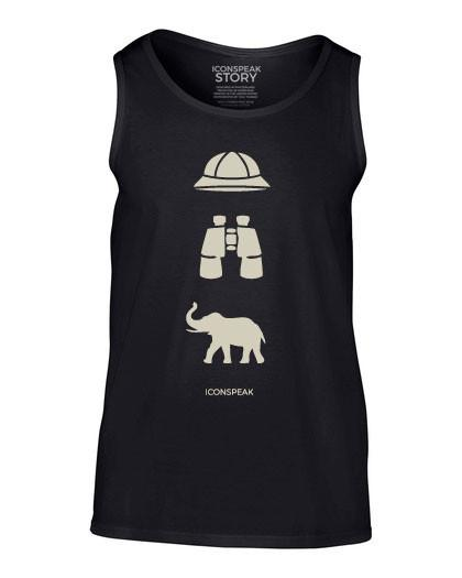 ICONSPEAK Safari Story Men's Tanktop - ICONSPEAK Travel shirt, traveller t-shirt, backpacker and backpacking shirt, icon language shirt