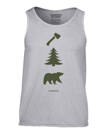 ICONSPEAK Lumberjack Story Men's Tanktop - ICONSPEAK Travel shirt, traveller t-shirt, backpacker and backpacking shirt, icon language shirt