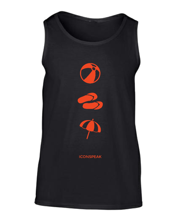 ICONSPEAK Beach Story Men's Tanktop - ICONSPEAK Travel shirt, traveller t-shirt, backpacker and backpacking shirt, icon language shirt