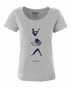 ICONSPEAK Yoga Story Shirt - ICONSPEAK Travel shirt, traveller t-shirt, backpacker and backpacking shirt, icon language shirt