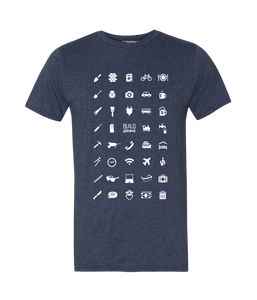 ICONSPEAK Build Abroad - official shirt Men - ICONSPEAK Travel shirt, traveller t-shirt, backpacker and backpacking shirt, icon language shirt
