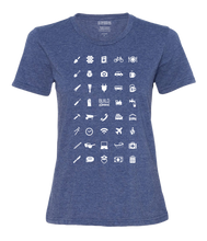 Load image into Gallery viewer, ICONSPEAK Build Abroad - official shirt Women - ICONSPEAK Travel shirt, traveller t-shirt, backpacker and backpacking shirt, icon language shirt
