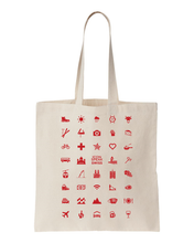 Load image into Gallery viewer, ICONSPEAK Swiss Edition Tote Bag - ICONSPEAK Travel shirt, traveller t-shirt, backpacker and backpacking shirt, icon language shirt