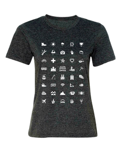 ICONSPEAK Swiss Edition Women's Shirt - ICONSPEAK Travel shirt, traveller t-shirt, backpacker and backpacking shirt, icon language shirt