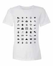 Load image into Gallery viewer, ICONSPEAK Swiss Edition Women's Shirt - ICONSPEAK Travel shirt, traveller t-shirt, backpacker and backpacking shirt, icon language shirt