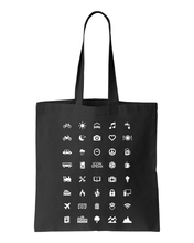 Load image into Gallery viewer, ICONSPEAK World Edition Tote Bag - ICONSPEAK Travel shirt, traveller t-shirt, backpacker and backpacking shirt, icon language shirt