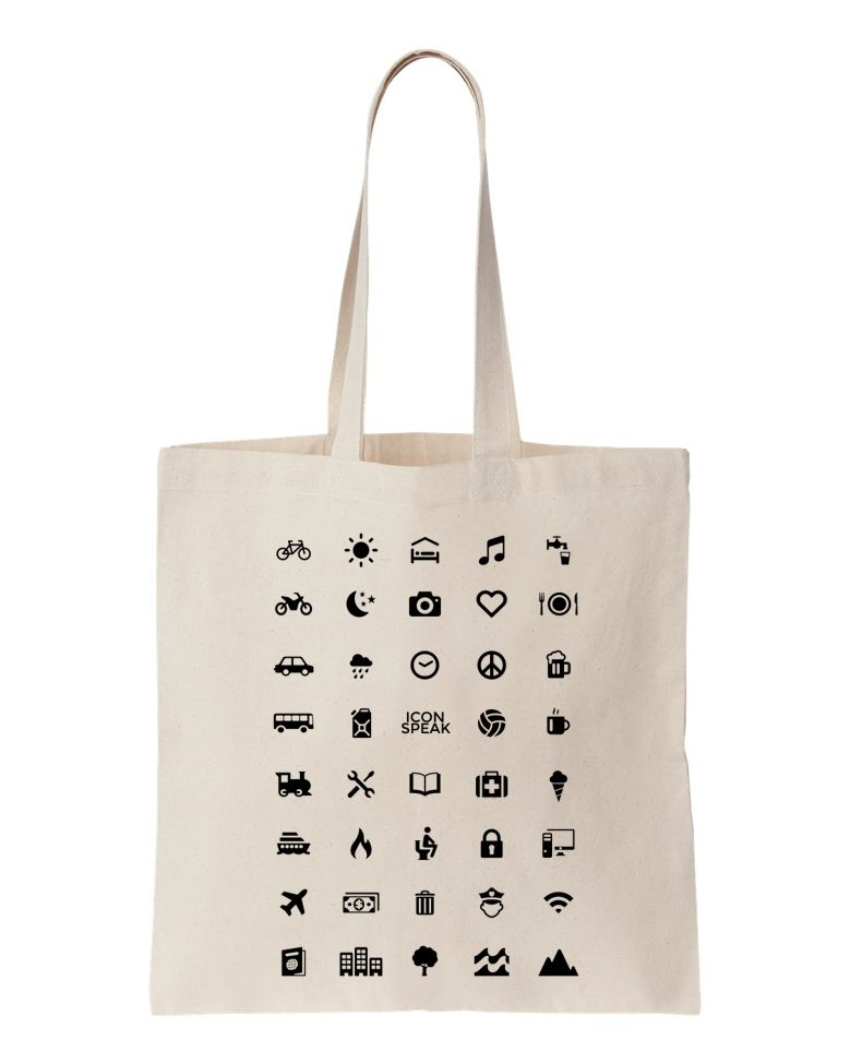 ICONSPEAK World Edition Tote Bag - ICONSPEAK Travel shirt, traveller t-shirt, backpacker and backpacking shirt, icon language shirt