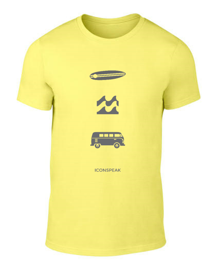 ICONSPEAK Surfer Story Men's shirt - ICONSPEAK Travel shirt, traveller t-shirt, backpacker and backpacking shirt, icon language shirt