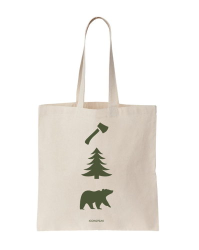 ICONSPEAK Lumberjack Tote Bag - ICONSPEAK Travel shirt, traveller t-shirt, backpacker and backpacking shirt, icon language shirt