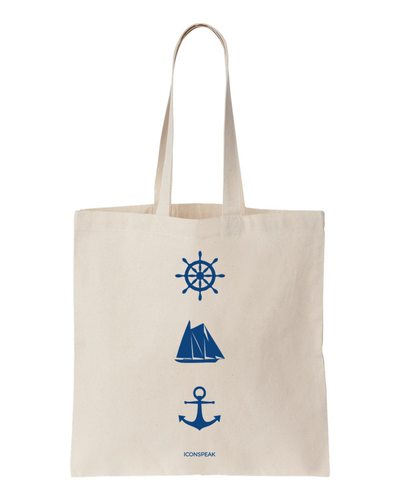 ICONSPEAK Sailor Story Tote Bag - ICONSPEAK Travel shirt, traveller t-shirt, backpacker and backpacking shirt, icon language shirt