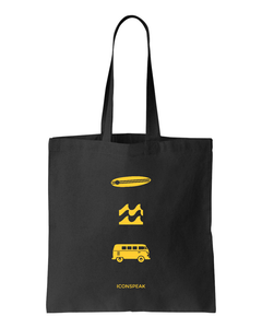 ICONSPEAK Surfer Story Tote Bag - ICONSPEAK Travel shirt, traveller t-shirt, backpacker and backpacking shirt, icon language shirt