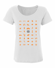 Load image into Gallery viewer, ICONSPEAK Adam City Women's Shirt - ICONSPEAK Travel shirt, traveller t-shirt, backpacker and backpacking shirt, icon language shirt