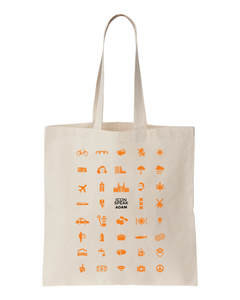 ICONSPEAK Adam Tote bag - ICONSPEAK Travel shirt, traveller t-shirt, backpacker and backpacking shirt, icon language shirt
