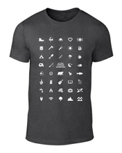 Load image into Gallery viewer, ICONSPEAK Camping Edition Men's Shirt - ICONSPEAK Travel shirt, traveller t-shirt, backpacker and backpacking shirt, icon language shirt