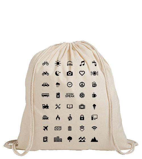 ICONSPEAK World Edition Drawstring Bag - ICONSPEAK Travel shirt, traveller t-shirt, backpacker and backpacking shirt, icon language shirt