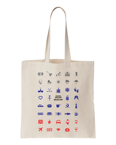 ICONSPEAK Moscow Tote bag - ICONSPEAK Travel shirt, traveller t-shirt, backpacker and backpacking shirt, icon language shirt