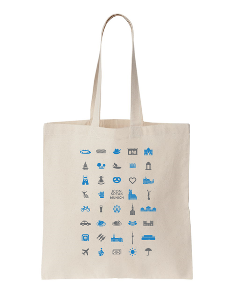 ICONSPEAK Munich Tote bag - ICONSPEAK Travel shirt, traveller t-shirt, backpacker and backpacking shirt, icon language shirt