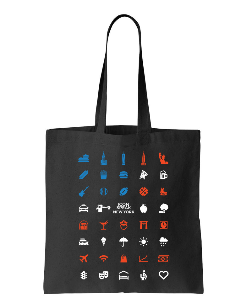 ICONSPEAK New York Tote bag - ICONSPEAK Travel shirt, traveller t-shirt, backpacker and backpacking shirt, icon language shirt