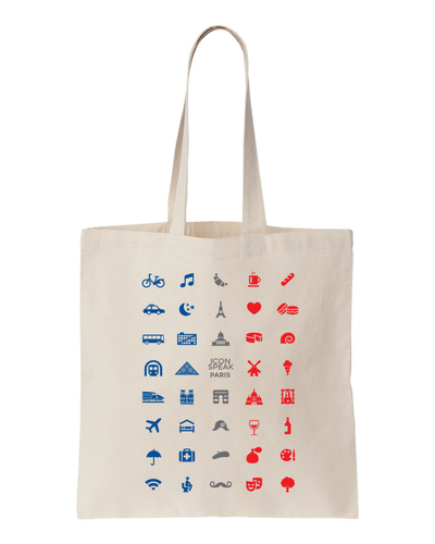 ICONSPEAK Paris Tote bag - ICONSPEAK Travel shirt, traveller t-shirt, backpacker and backpacking shirt, icon language shirt