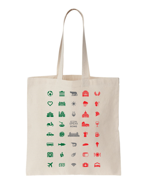 ICONSPEAK Rome Tote bag - ICONSPEAK Travel shirt, traveller t-shirt, backpacker and backpacking shirt, icon language shirt