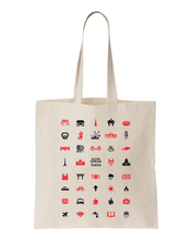 Load image into Gallery viewer, ICONSPEAK Tokyo Tote bag - ICONSPEAK Travel shirt, traveller t-shirt, backpacker and backpacking shirt, icon language shirt