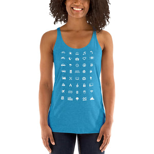 ICONSPEAK World Edition Women's Tanktop - ICONSPEAK Travel shirt, traveller t-shirt, backpacker and backpacking shirt, icon language shirt