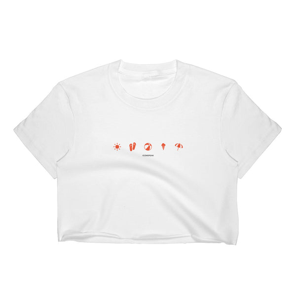ICONSPEAK Beach Women's Crop Top - ICONSPEAK Travel shirt, traveller t-shirt, backpacker and backpacking shirt, icon language shirt