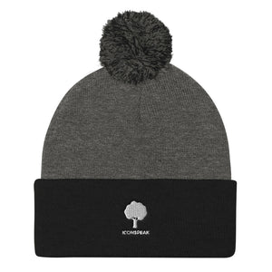 ICONSPEAK ONE Tree Pom Pom Knit Cap - ICONSPEAK Travel shirt, traveller t-shirt, backpacker and backpacking shirt, icon language shirt