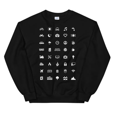 ICONSPEAK World Edition Unisex Traveller Sweatshirt - ICONSPEAK Travel shirt, traveller t-shirt, backpacker and backpacking shirt, icon language shirt
