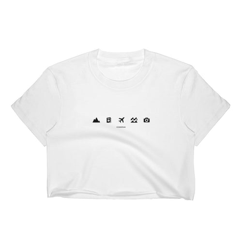 ICONSPEAK World Women's Crop Top - ICONSPEAK Travel shirt, traveller t-shirt, backpacker and backpacking shirt, icon language shirt