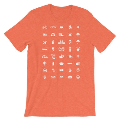 ICONSPEAK Adam City Men's Shirt - ICONSPEAK Travel shirt, traveller t-shirt, backpacker and backpacking shirt, icon language shirt