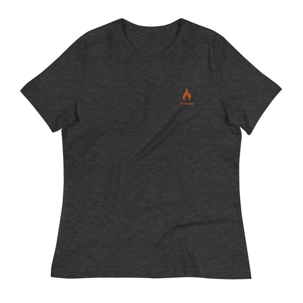 ICONSPEAK One Fire Women's Shirt Embroidered - ICONSPEAK Travel shirt, traveller t-shirt, backpacker and backpacking shirt, icon language shirt