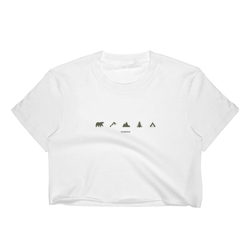 ICONSPEAK Camping Women's Crop Top - ICONSPEAK Travel shirt, traveller t-shirt, backpacker and backpacking shirt, icon language shirt