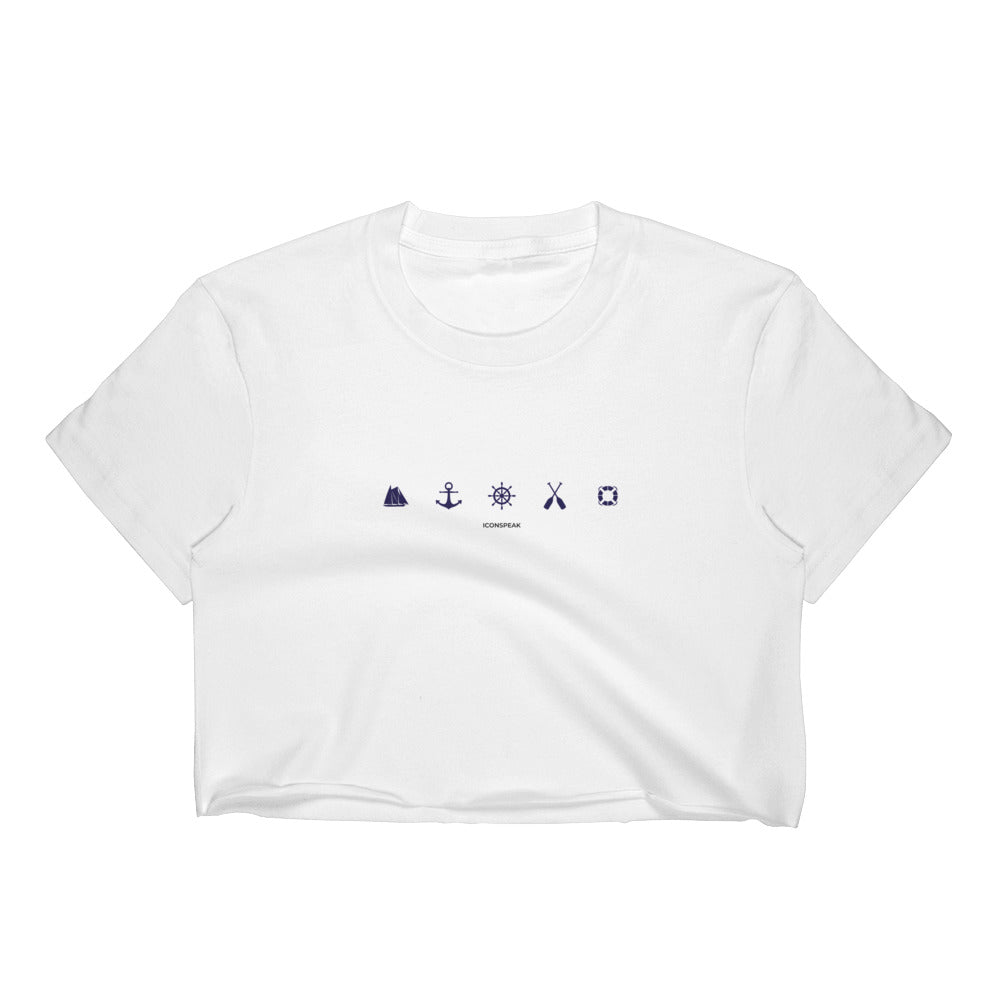 ICONSPEAK Sailor Story Women's Crop Top - ICONSPEAK Travel shirt, traveller t-shirt, backpacker and backpacking shirt, icon language shirt