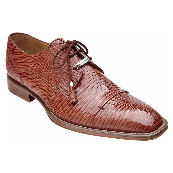 Belvedere Karmelo Tan Brown Genuine Lizard Skin Lace-ups