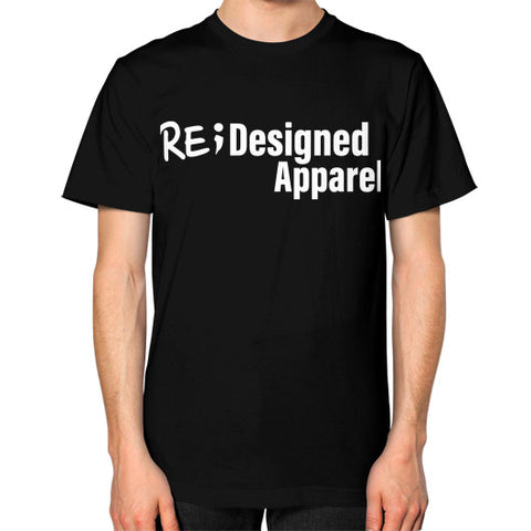Unisex T-Shirt (on man) Black RE;Designed Apparel