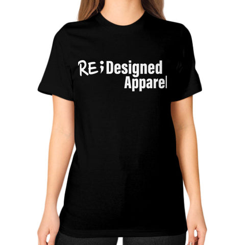 Unisex T-Shirt (on woman) Black RE;Designed Apparel