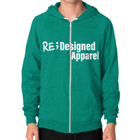 Zip Hoodie (on man) Tri-Blend Vintage Green RE;Designed Apparel