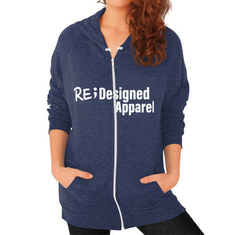 Zip Hoodie (on woman) Tri-Blend Navy RE;Designed Apparel