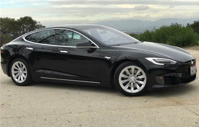 Tesla Model S with landscape background
