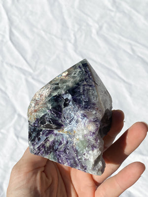 Polished Point Rough | Rainbow Fluorite - Unearthed Crystals